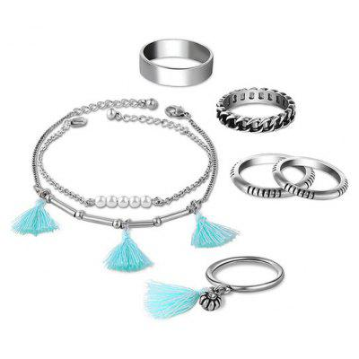 Faux Pearl Tassel Circle Rings and Bracelets