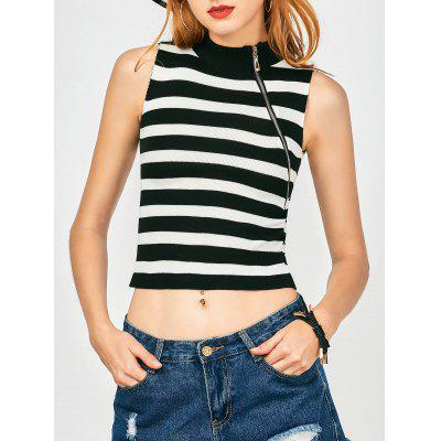 Knitted Zippered Stripes Tank Top