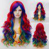 Long Wavy Side Bang Gradient Synthetic Cosplay Lolita Wig - COLORFUL