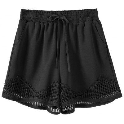 Crochet Trim Plus Size Elastic Waist Shorts