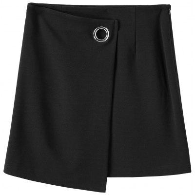 Plus Size Zippered Mini Skirt