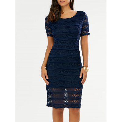 See Through Lace Knee Length Dress