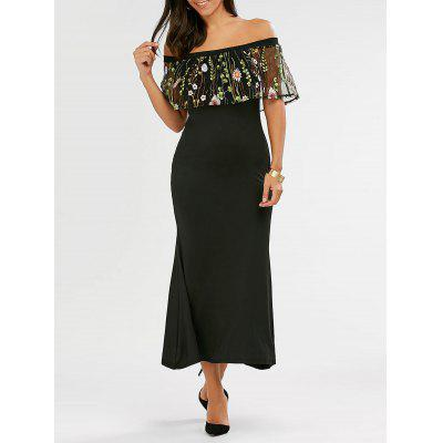 Off The Shoulder Embroidered Mermaid Maxi Dress