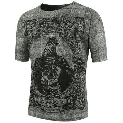 Chinese Royal Printed Short Sleeve Plus Size T-Shirt