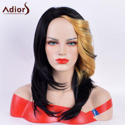 Buy BLACK AND GOLDEN Adiors Long Straight Tail Upwards Bang Hightlight Synthetic Wig for $17.09 in GearBest store