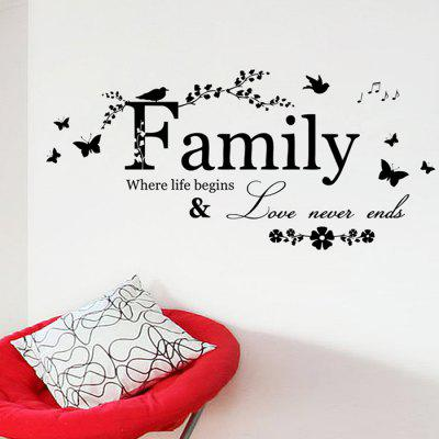 Buy Family Butterfly Quote Wall Stickers BLACK Home & Garden > Home Decors > Wall Art > Wall Stickers for $5.11 in GearBest store
