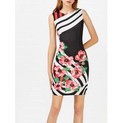 Buy BLACK M Floral Print Stripe Sleeveless Bodycon Dress for $19.70 in GearBest store