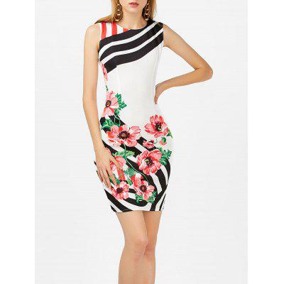 Buy WHITE XL Floral Print Stripe Sleeveless Bodycon Dress for $19.70 in GearBest store