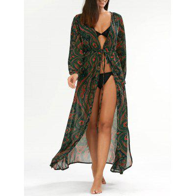 Paisley Cover Up Tie Waist Maxi Dress