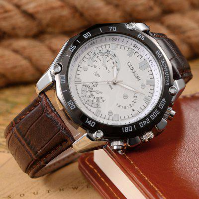 OUKESHI Tachymeter Faux Leather Strap Analog WatchMens Watches<br>OUKESHI Tachymeter Faux Leather Strap Analog Watch<br><br>Band Length(CM): 25.5cm<br>Band material: PU Leather<br>Band Width(CM): 2.2cm<br>Case material: Alloy<br>Case Thickness(MM): 10mm<br>Dial Diameter: 4.4cm<br>Dial Shape: Round<br>Gender: For Women<br>Index Dial: Analog<br>Movement: Quartz<br>Package Contents: 1 x Watch<br>Style: Fashion<br>Type: Quartz watch<br>Water-Proof: No