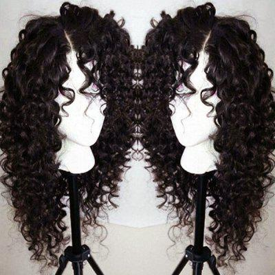 Buy NATURAL BLACK 04A# Long Curly Side Parting Lace Front Synthetic Wig for $55.45 in GearBest store