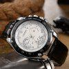 Buy OUKESHI Tachymeter Faux Leather Strap Analog Watch BLACK WHITE