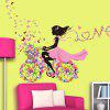Girl Ride Floral Bike Wall Art Stickers - PINK