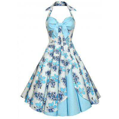 Backless Floral Print Vintage Kleid