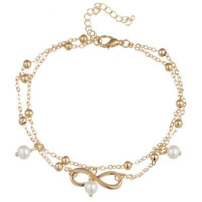 Beads Fake Pearl 8 Shape Double Layered Anklet