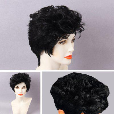 Short Shaggy Layered Curly Pixie Human Hair Wig