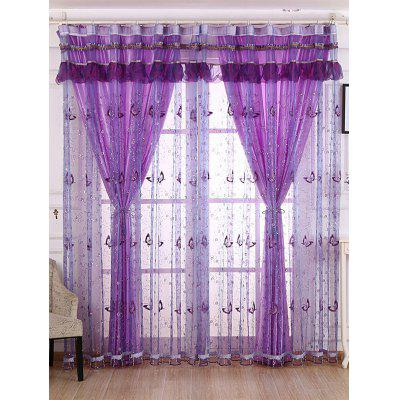 Beads Sequin Butterfly Sheer Window Curtain