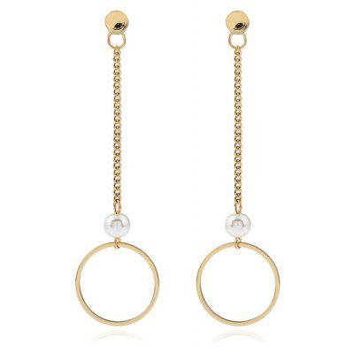 Buy GOLDEN Artificial Pearl Circle Chain Earrings for $3.01 in GearBest store
