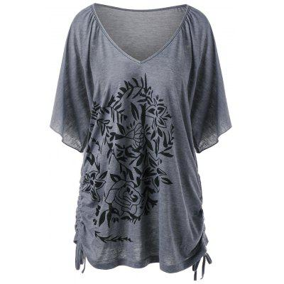Side Drawstring Floral Plus Size T-Shirt