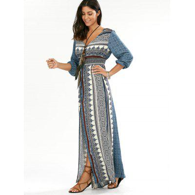 Empire Waist Button Down Flowy Beach Bohemian Maxi DressWomens Dresses<br>Empire Waist Button Down Flowy Beach Bohemian Maxi Dress<br><br>Dresses Length: Floor-Length<br>Embellishment: Button<br>Material: Cotton Blend, Polyester<br>Neckline: V-Neck<br>Package Contents: 1 x Dress<br>Pattern Type: Print<br>Season: Fall, Summer, Spring<br>Silhouette: Beach<br>Sleeve Length: 3/4 Length Sleeves<br>Style: Bohemian<br>Waist: Empire<br>Weight: 0.3800kg<br>With Belt: No