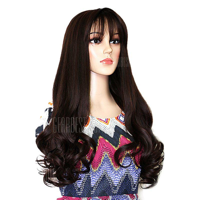 Long Neat Bang Shaggy Botton Wavy Synthetic Party Wig