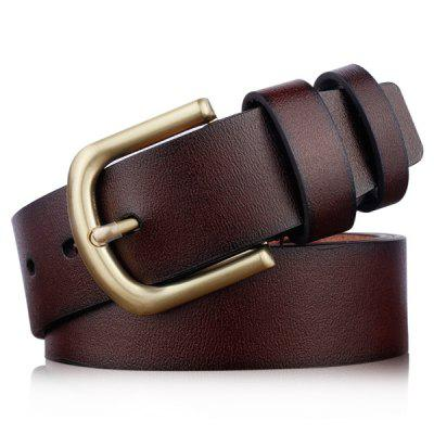 Metal Rectangular Pin Buckle Artificial Leather Belt