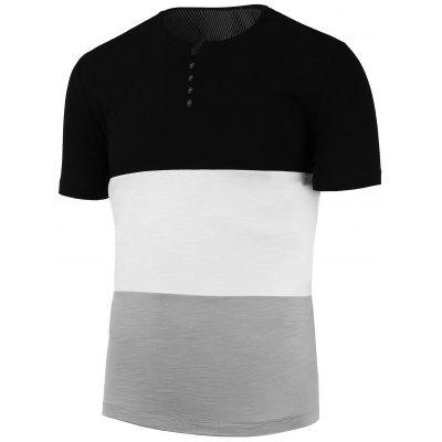 Stripe Color Block Henley Shirt