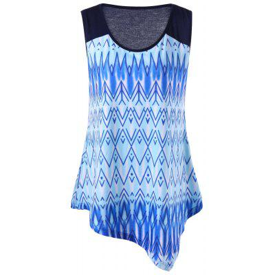 Buy BLUE 2XL Plus Size Zigzag Ombre Asymmetric Tank Top for $17.12 in GearBest store