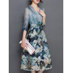 V Neck Floral Print Tea Length Wrap Dress - BLUE