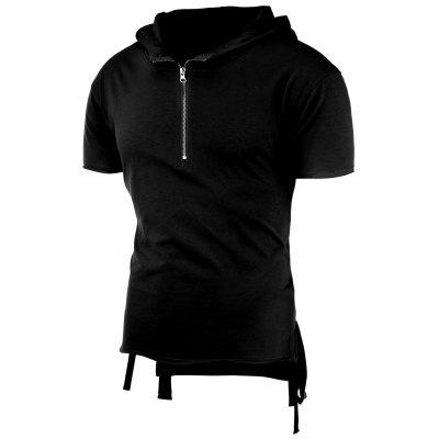 Half Zip High-Low Hooded T-Shirt