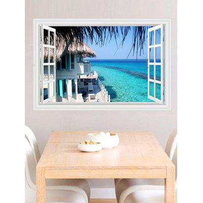 Buy 3D Seascape Faux Window Wall Sticker BLUE Home & Garden > Home Decors > Wall Art > Wall Stickers for $9.20 in GearBest store