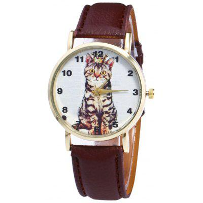 Faux Leather Strap Cat Number Watch