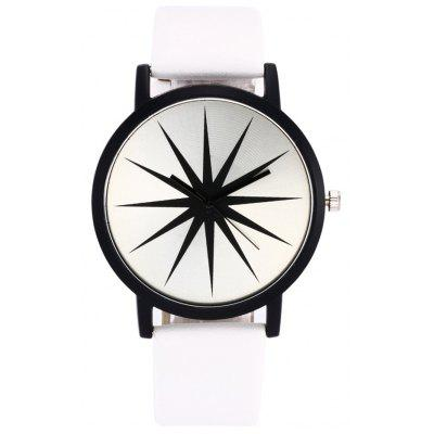 Faux Leather Strap Star Face Watch