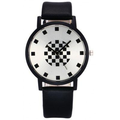 Faux Leather Strap Mosaic Face Watch