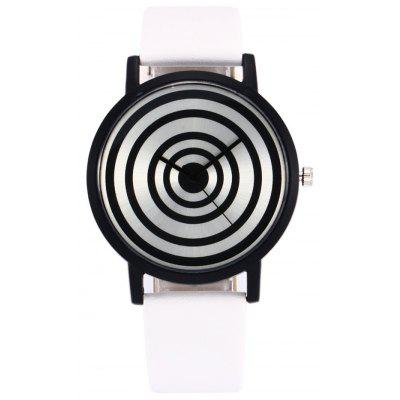 Faux Leather Strap Target Face Watch