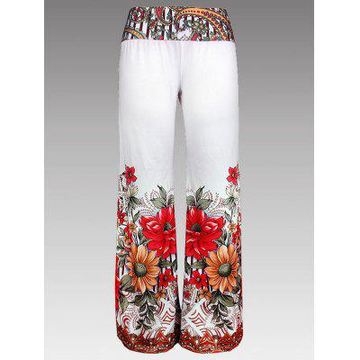 Buy WHITE S Wide Leg Floral Print Palazzo Pants for $19.33 in GearBest store