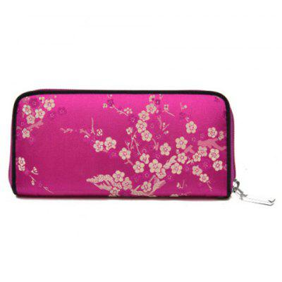 Zip Around Satin Jacquard Wallet