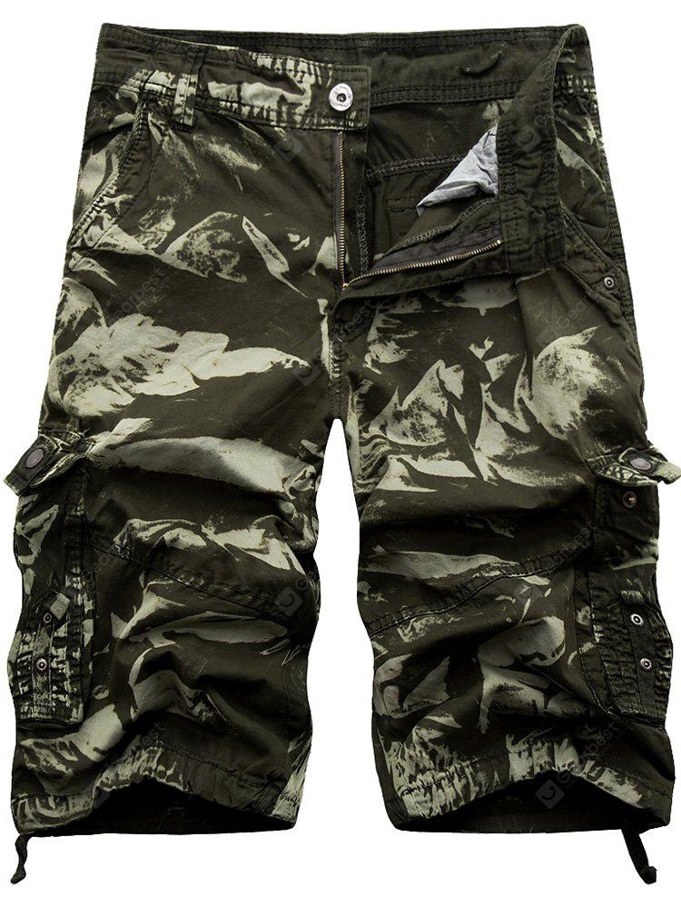 Zip Fly Cargo Shorts com Multi bolsos