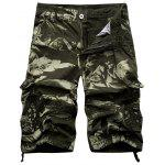Zip Fly Cargo Shorts com Multi bolsos - VERDE