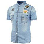 Slim Fit Patched Denim Shirt - CLOUDY