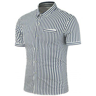 Striped Fake Pocket Design Short Sleeves Shirt
