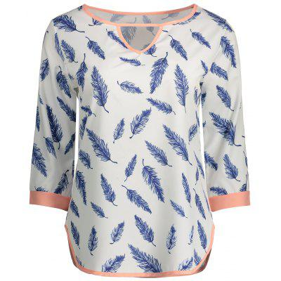 Cut Out Feather Printed Tee