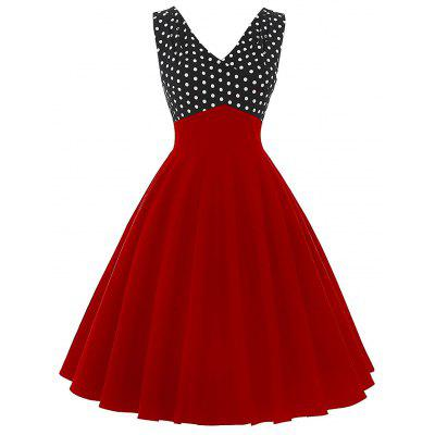 Vintage V Neck Polka Dot Insert Dress