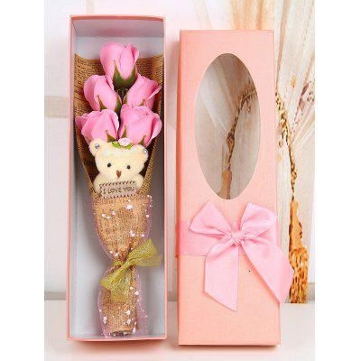 5 Pcs Handmade Rose Soap Artificial Flowers and Bear