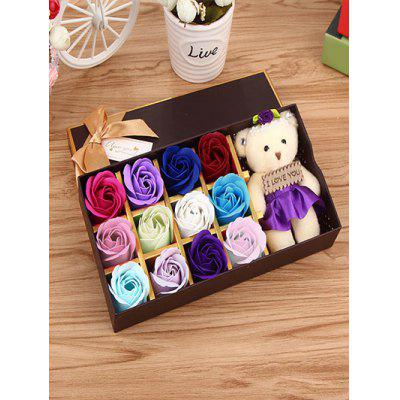 12 Pcs Gradient Rose Soap Artificial Flower and Bear