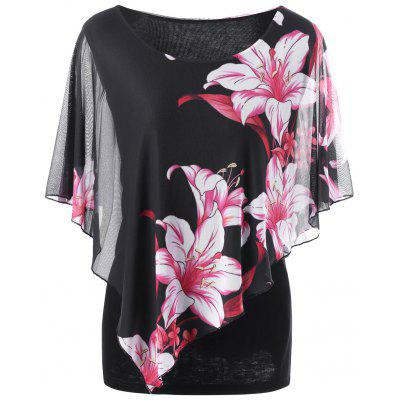 Plus Size Overlay Floral T-Shirt