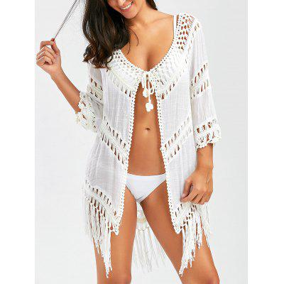 Crochet Panel Tunic Wrap Cover Up with Tassel