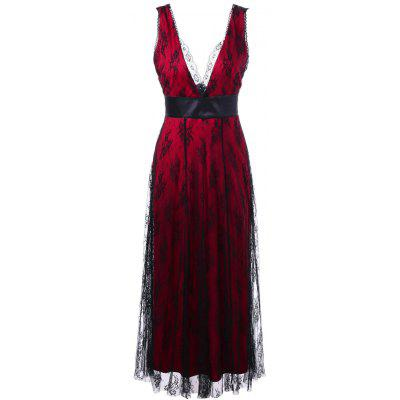 Lace Up Voile Layered Plunge Long Evening Dress