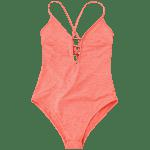 Lace Up Plunge Neck Monokini - JACINTH