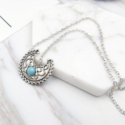 Artificial Turquoise Moon Pendant Gypsy Necklace